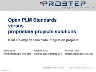 Open PLM Standards  versus  proprietary projects solutions