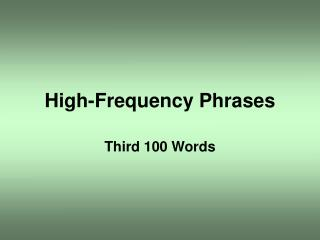High-Frequency Phrases