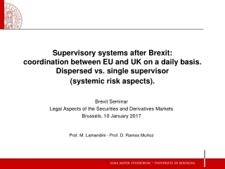 Brexit Seminar Legal Aspects of the Securities and Derivatives Markets Brussels , 10 January 2017
