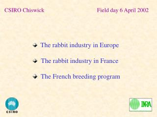 The rabbit industry in Europe