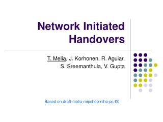 Network Initiated Handovers