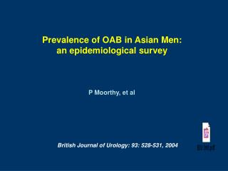 Prevalence of OAB in Asian Men:  an epidemiological survey