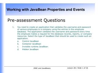 Pre-assessment Questions
