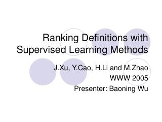 Ranking Definitions with Supervised Learning Methods