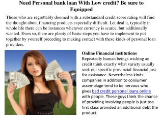 Need Personal bank loan With Low credit