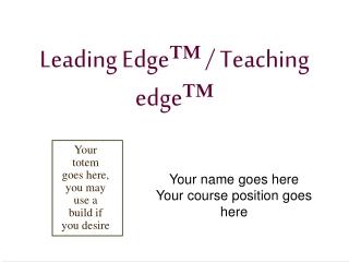 Leading Edge ™  / Teaching edge ™