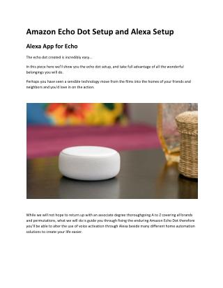 Tips to Set Up Alexa App and Echo Dot Setup