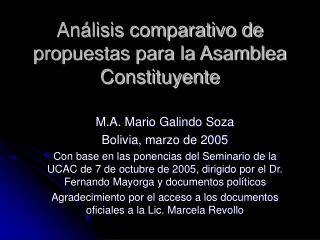 Análisis comparativo de propuestas para la Asamblea Constituyente