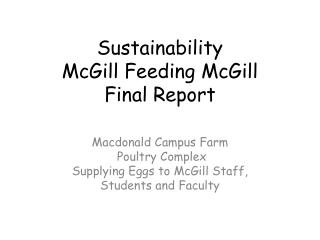 Sustainability McGill Feeding McGill Final Report