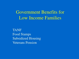 Government Benefits for  Low Income Families