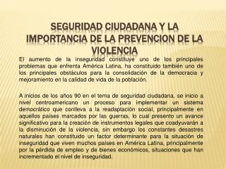 SEGURIDAD  CIUDADANA Y LA IMPORTANCIA DE LA PREVENCION DE LA VIOLENCIA