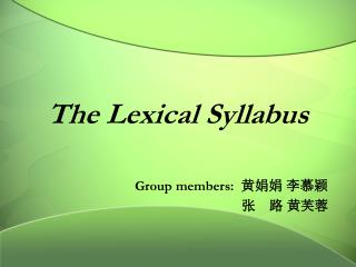 The Lexical Syllabus