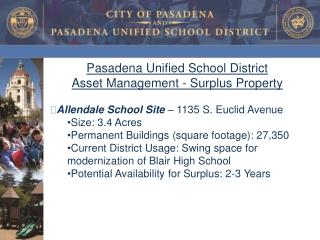 Pasadena Unified School District   Asset Management - Surplus Property