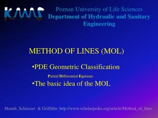 METHOD OF LINES (MOL)