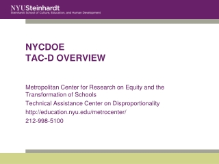 NYCDOE  TAC-D OVERVIEW