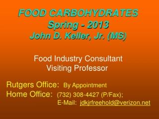 Food Industry Consultant Visiting Professor