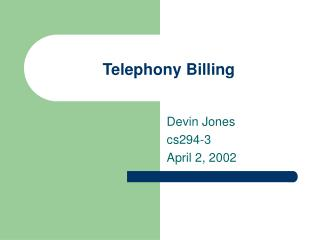 Telephony Billing