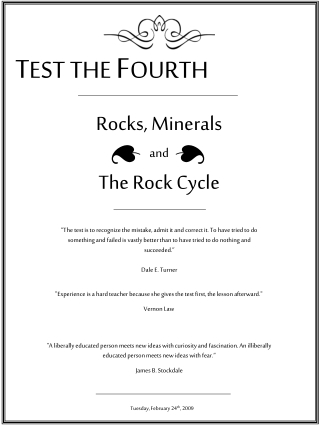 Rocks, Minerals and The Rock Cycle