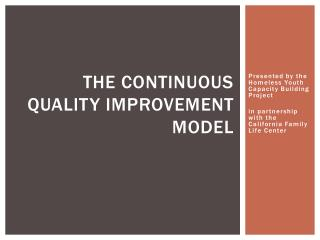 The continuous Quality Improvement model