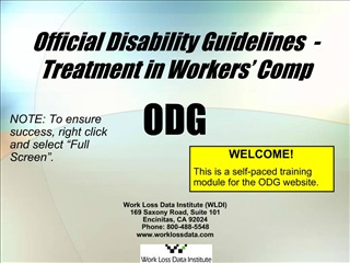 Official Disability Guidelines  - Treatment in Workers  Comp  ODG
