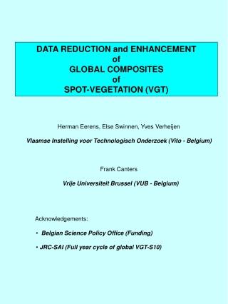 DATA REDUCTION and ENHANCEMENT  of  GLOBAL COMPOSITES  of SPOT-VEGETATION (VGT)