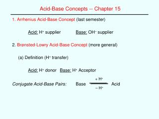 Acid-Base Concepts -- Chapter 15