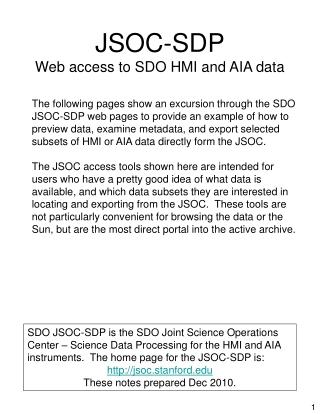 JSOC-SDP Web access to SDO HMI and AIA data