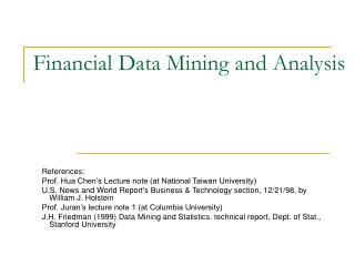 Financial Data Mining and Analysis
