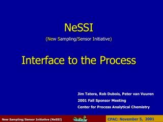 NeSSI (Ne w  S ampling/ S ensor  I nitiative ) Interface to the Process