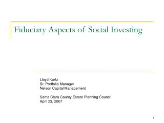 Fiduciary Aspects of Social Investing