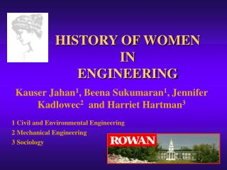 HISTORY OF WOMEN  IN  ENGINEERING