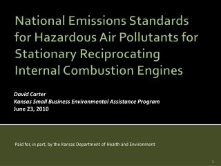 National Emissions Standards for Hazardous Air Pollutants for Stationary Reciprocating Internal Combustion Engines