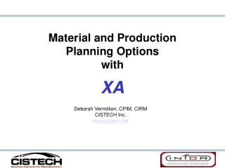 Material and Production  Planning Options with XA