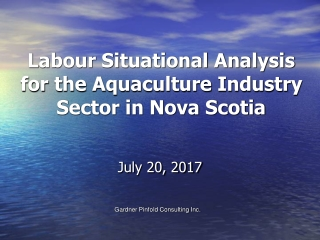 Labour Situational Analysis for the Aquaculture Industry Sector in Nova Scotia