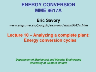 ENERGY CONVERSION MME 9617A Eric Savory eng.uwo/people/esavory/mme9617a.htm