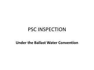 PSC INSPECTION