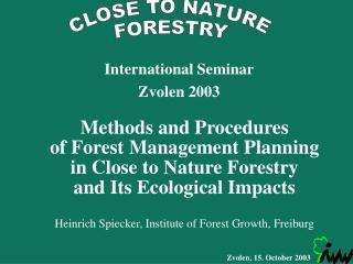 International Seminar Zvolen 2003