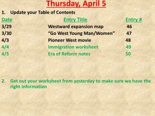 Thursday, April 5