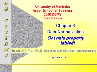 Chapter 3 Data Normalization Get data properly tabled!