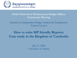 Global Network of Parliamentary Budget Offices  Community Meeting