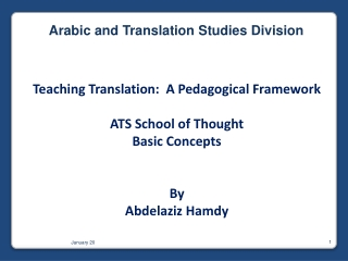 Teaching Translation:  A Pedagogical Framework ATS  School of  Thought Basic Concepts By