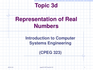 Topic 3d Representation of Real Numbers