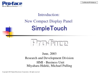 Introduction:  New Compact Display Panel SimpleTouch