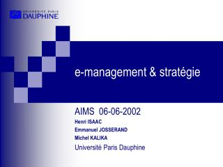 E-management  strat gie