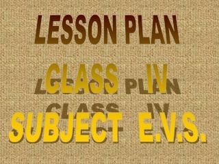 LESSON PLAN CLASS    IV SUBJECT  E.V.S.