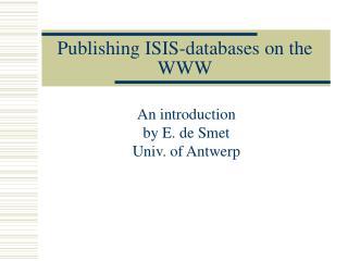 Publishing ISIS-databases on the WWW