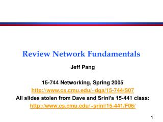 Review Network Fundamentals