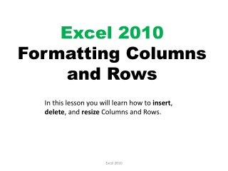 Excel 2010 Formatting Columns and Rows