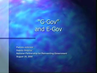 """""""G-Gov""""  and E-Gov"""