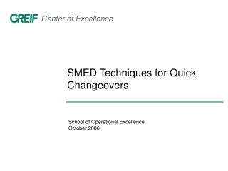 SMED Techniques for Quick Changeovers
